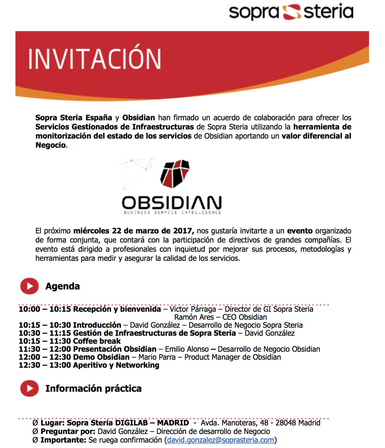 Evento com la Obsidian organizado por Sopra Steria en Madrid